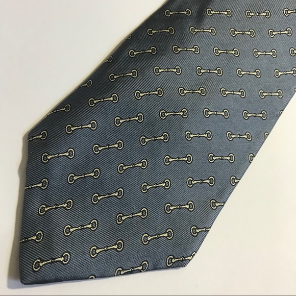 Vintage Other - DAMON Silk Chain Links Equestrian Tie Grey